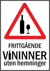 Bilde av Frittgånde VININNER uten hemninger SKILT 30x42
